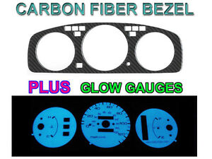 92 95 Honda Civic Auto No Tach Carbon Fiber Bezel Blue green Glow Gauge Face