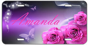 Custom Vanity License Plate Personlized Pink Roses And Butterflies Auto Tag