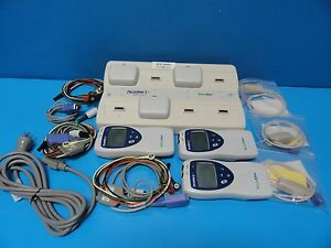 3 X Welch Allyn Micropaq 404 Ambulatory Monitors Cables Battery Packs