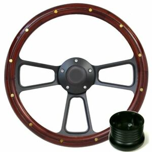 Wood Steering Wheel Complete Billet Kit For Ford Mustang Galaxie Thunderbird
