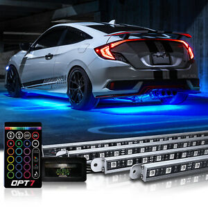 Opt7 4pc 16 Color Car Truck Underglow Underbody Rgb Accent Kit Glow Led Lightbar
