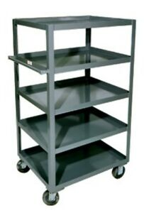 Durham 5 Shelf Rolling Service Warehouse Kitchen Stock Cart Poly Casters 36 X 24