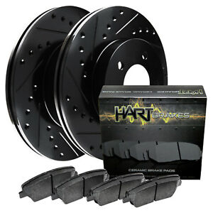 Front Kit Black Hart Drilled Slotted Disc Brake Rotors Ceramic Pads F1367