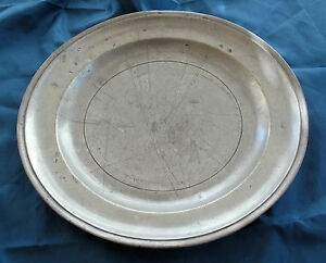 1700 S Early American Antique Pewter Charger Tray Boston Estate America
