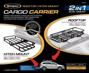 2 In 1 Hitch Mount Roof Mount Cargo Carrier Luggage Basket Trailer Receiver Rack