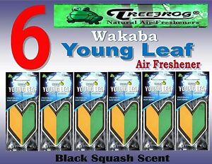 6 Packs Treefrog Wakaba Young Leaf Car Air Freshener black Squash Scent Jdm