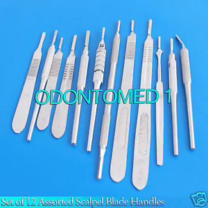 Set Of 12 Assorted Surgical Scalpel Blade Handles Flat Round 3 4 3l 4l 7
