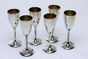 Antique Sterling Silver Cordials Set Of 6 Gold Wash Interior
