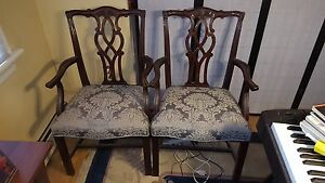 Pair Kindel Chippendale Mahogany Arm Chairs