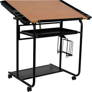 Flash Furniture Drawing And Drafting Table W black Frame And Dual Wheel Casters