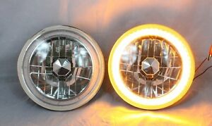 97 16 Jeep Wrangler Tj Jk 7 Amber Led Smd Halo Round Chrome Clear Headlights