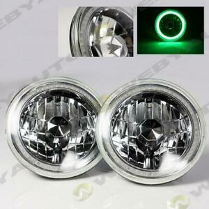 97 16 Jeep Wrangler Tj Jk 7 Green Led Smd Halo Round Chrome Clear Headlights