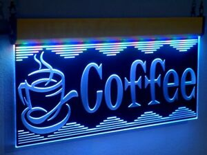 H006 Animated Coffee Cup Led Open Sign Neon Light Cafe Cake Shop Display Large