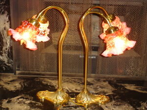 Fenton Double Piano Daisy Fern Cranberry Opalescent Brass Lamp 1 2