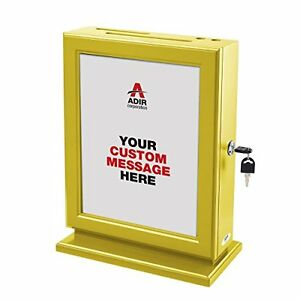 Adir Customizable Wood Suggestion Box Yellow New