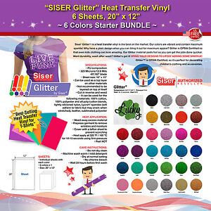 Siser Glitter Heat Transfer Vinyl 6 Sheets 20 X 12 6 Colors Starter Bundle