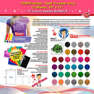 Siser Glitter Heat Transfer Vinyl 12 Sheets 20 x12 12 Colors Starter Bundle