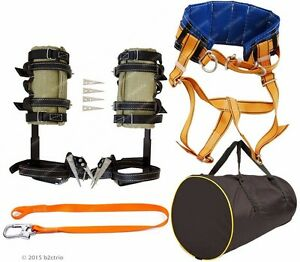 Tree Climbing Spikes Kit safety Belt With Straps safety Lanyard bag spur Gaffs