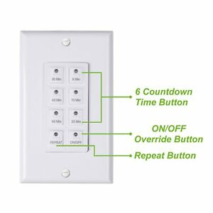 Bn link Countdown Digital In wall Timer 5 10 20 30 45 60mins White For Light