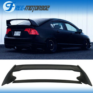 For 06 11 Honda Civic 4door Sedan Mugen Rear Trunk Spoiler Wing Matte Black