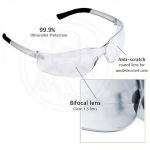 Bulk lot Of 36 Bifocal Safety Glasses Clear 1 5 Diopter Reader Safety Glasses