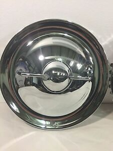 New Set Of 4 15 Single Bar Chrome Bullet Flipper Hubcaps Hot Rod Rat Rod