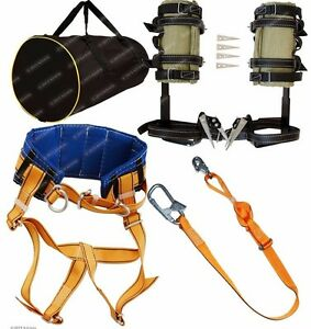 Tree Climbing Spikes Spurs Gaffs Safety Belt Adjustable Safety Lanyard Bag