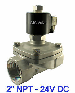2 Inch Stainless Normally Open Zero Differential Water Solenoid Valve 24v Dc