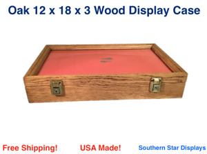 Oak Wood Display Case 12 X 18 X 3 For Arrowheads Knifes Collectibles More