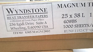 1000 Sheets Wyndstone Heat Transfer Paper 120m 60 bs 25 X 38 8305 magn120d2