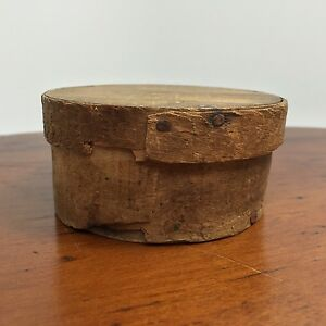 Small Primitive Thin Wood Round Bent Wood Pantry Box Marked Rivets