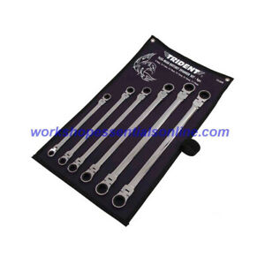 Double Flex Head Ratchet Spanner Set Extra Long 6pc 8mm 19mm Trident T212600