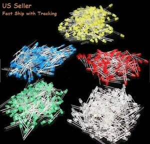 500pcs 3mm Led Diode Kit Mixed Color Red Green Yellow Blue White Us Seller