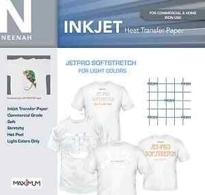 Neenah Jetpro Iron on Stretchy Transfer Paper For Light Colors 8 5x11 50 Sheets