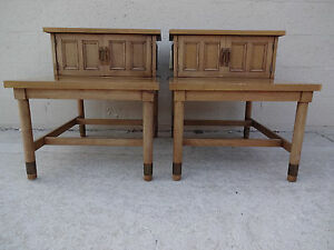 Pair American Of Martinsville Two Tier Two Door End Tables Night Stands Mahogany