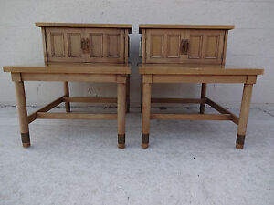 Pair American Of Martinsville Two Tier Two Door End Tables Night Stands Maho