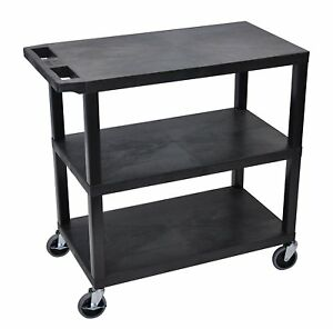 Luxor Ec222 b Cart With Three Flat Shelves In Black With 400 lb Weight Capacity