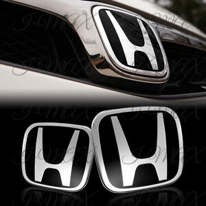 Black Jdm H Emblem 2pcs Set Front Rear For 2006 2015 Honda Civic Sedan 4dr