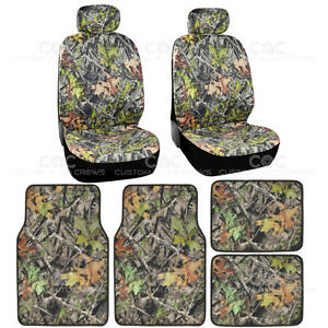 2 Front Low Back Camo Seat Covers W 4pc Camo Floor Mats Camouflage Hunting