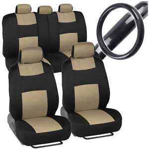 Beige Car Seat Cover W Black Carbon Fiber Steering Wheel Cover Sporty Rome