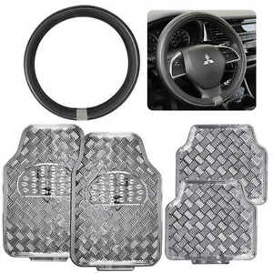 Silver Metallic Tough Rubber Car Floor Mats Pu Leather Steering Wheel Cover