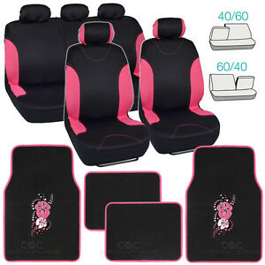 Pink Trim Black Poly Cloth Seat Covers For Car Suv Truck Flower Floor Mats