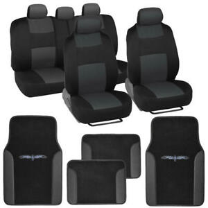 Charcoal Car Seat Covers Set Full Solid Bench For Auto Suv W Tribal Floor Mats
