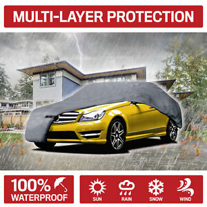 Large 4 layer Full Car Cover Waterproof Uv Rain Snow Protection 190