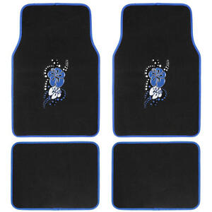 Blue Hawaiian Flower Car Floor Mats 4 Pc Custom Auto Accessories Personalize