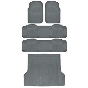 Weatherplus Rubber Floor Mats 2 Liners Cargo Trunk Mat Heavy Duty Gear Gray