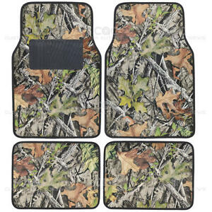 Camouflage Car Floor Mats Set 4pc Camo No Slip Rubber Backing