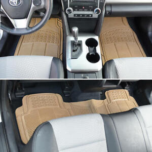 Car Rubber Floor Mats For All Weather Heavyduty Tech 3 Pcs Trimmable Beige