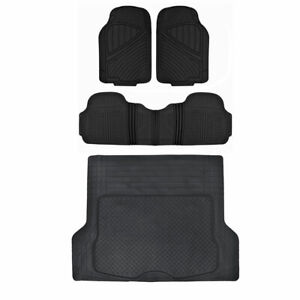 Rubber Floor Mat For Car Suv Hd All Weather Liner Black W Trunk Mat 4 Piece Set