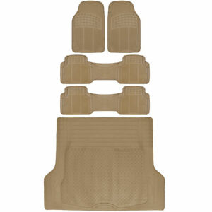 Van Suv Floor Mats All Weather 5 Piece Rubber Mat 3 Row Trunk Mat Beige